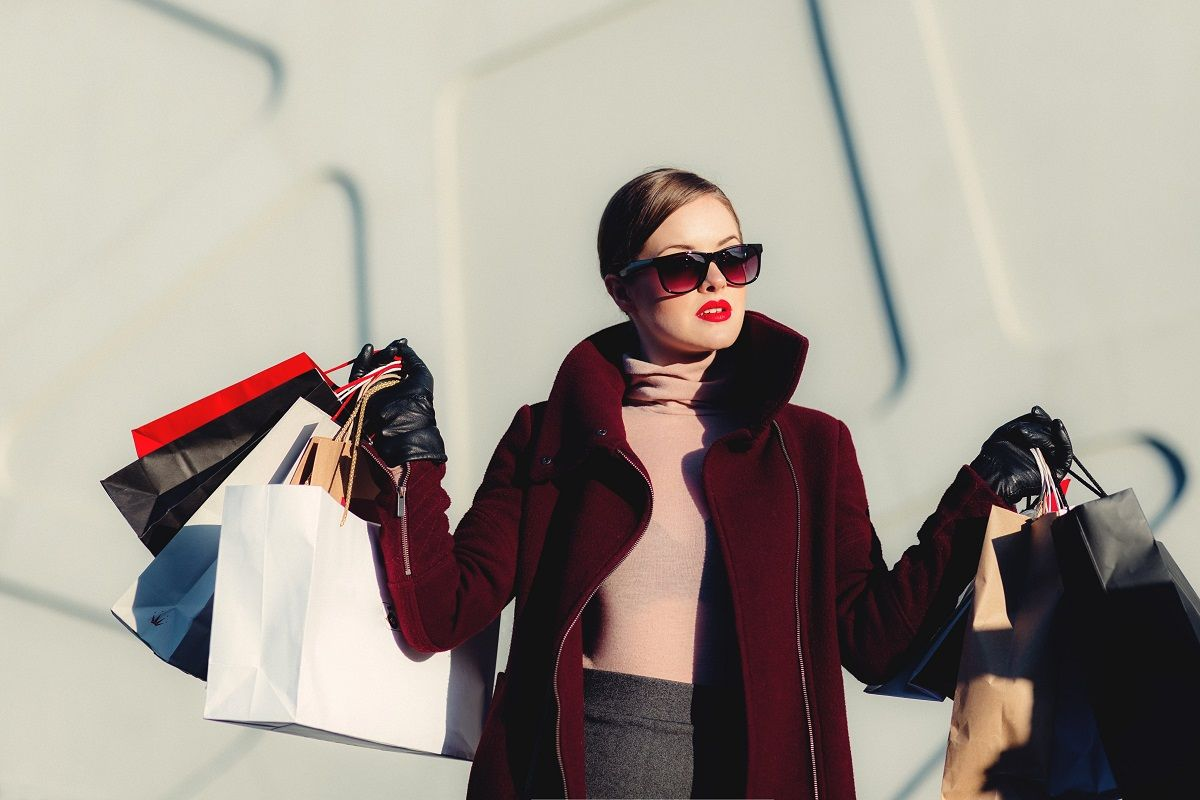Woman finished shopping